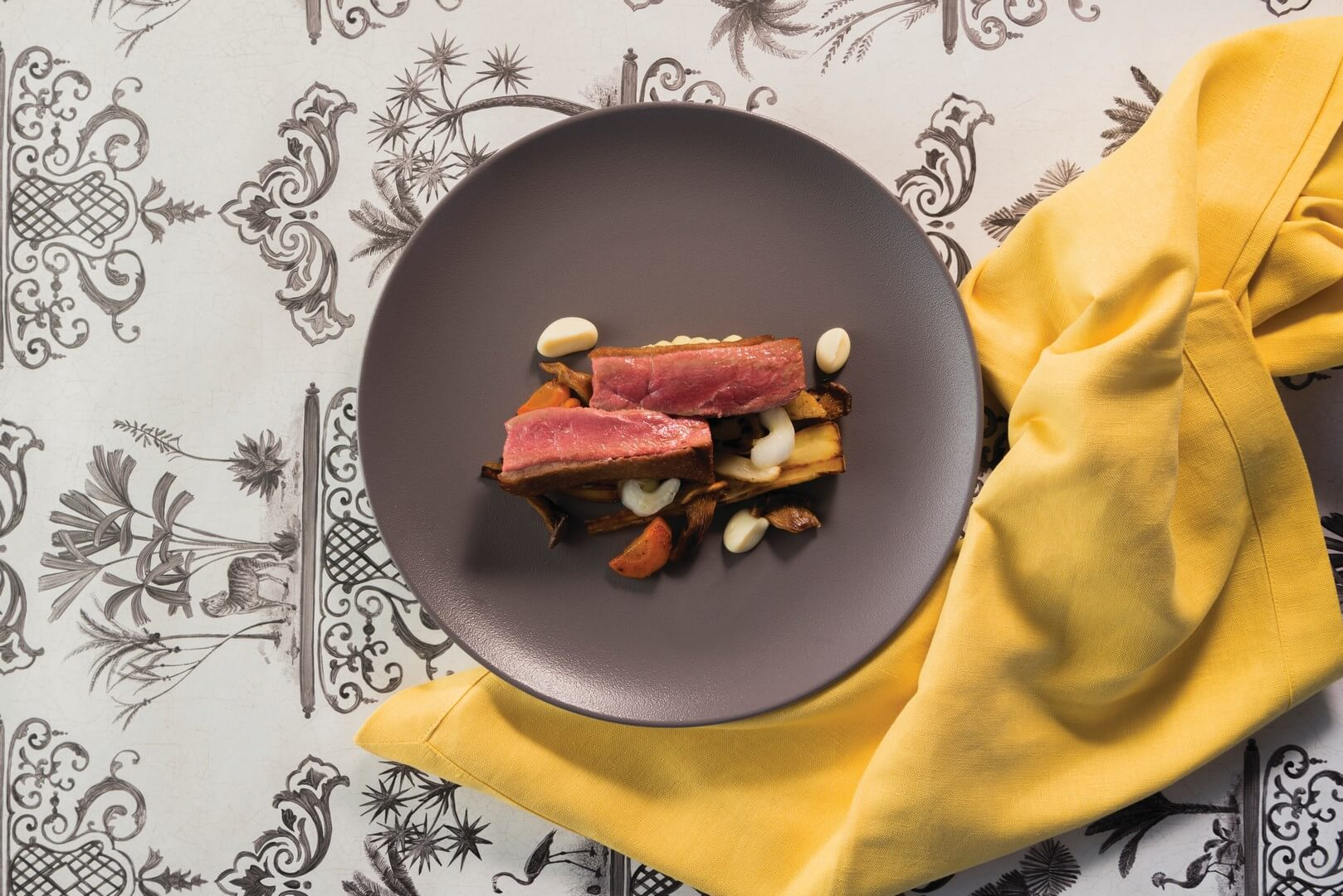 Roasted duck breast with parsnip purée…