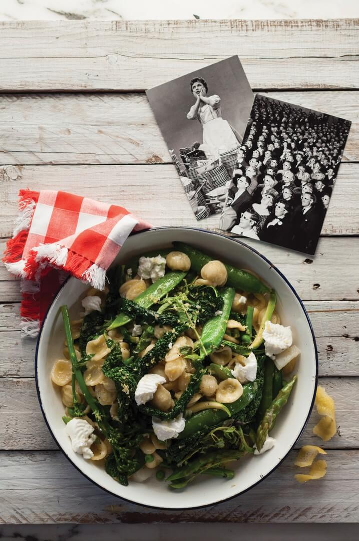 Orechiette with Spring Greens and Soft Goats Cheese