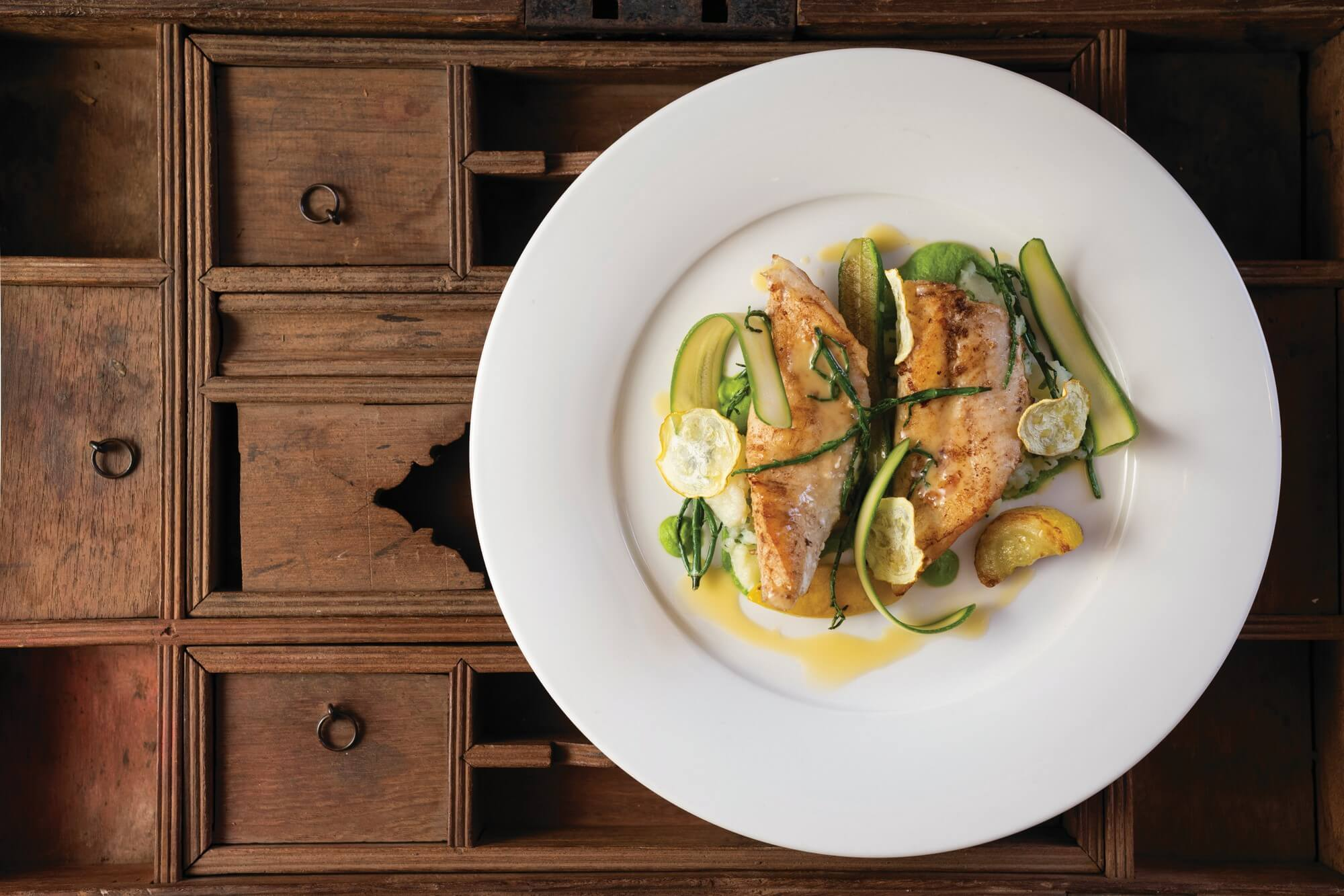 John Dory with courgettes and crushed potatoes