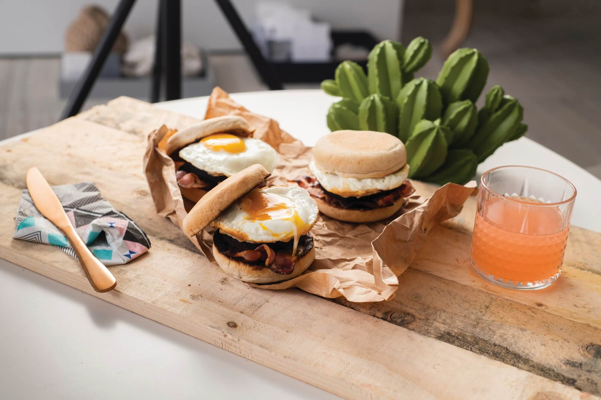 Black pudding, goat s cheese, bacon and fried egg muffin…