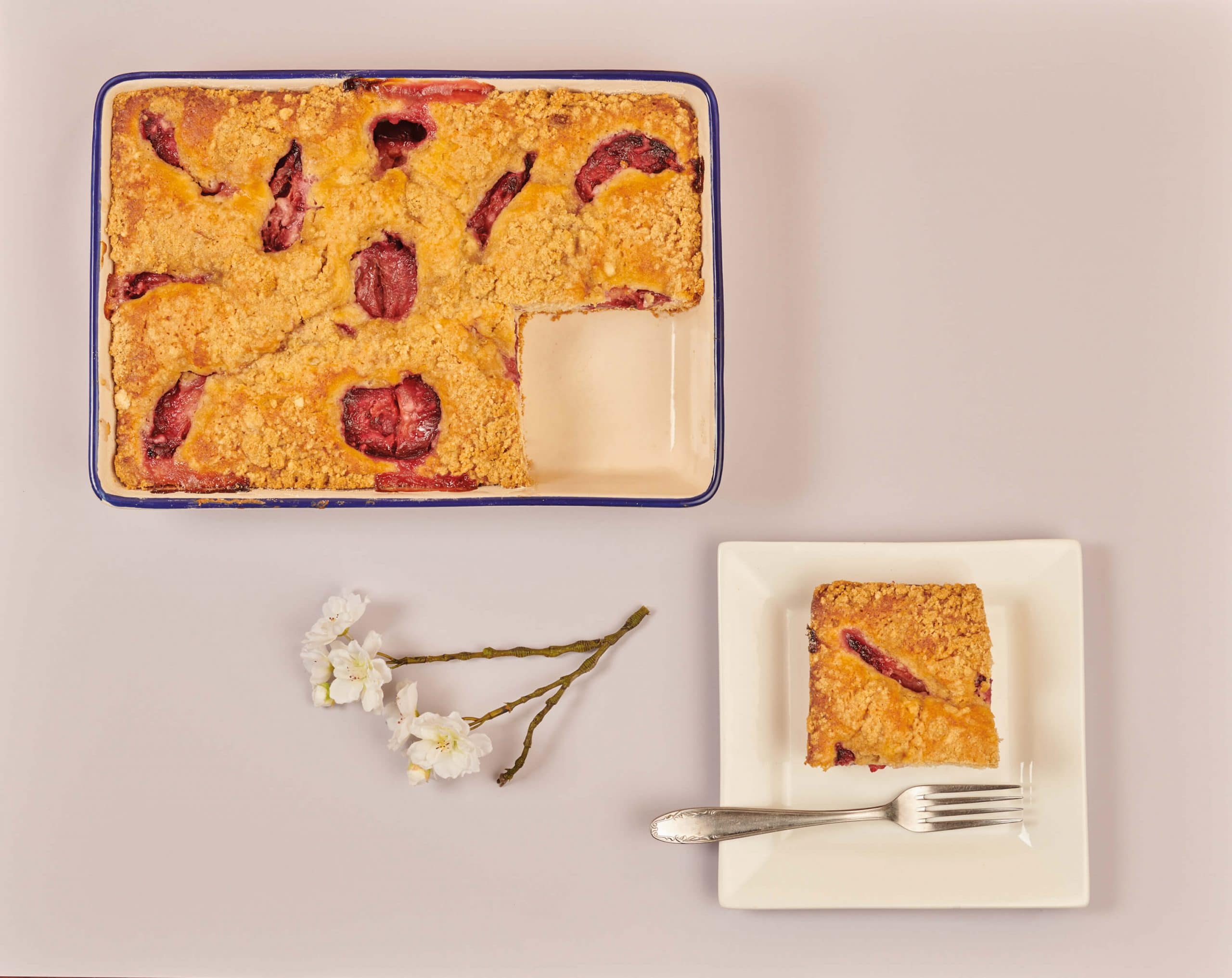 Lemon and Plum Crater Cake