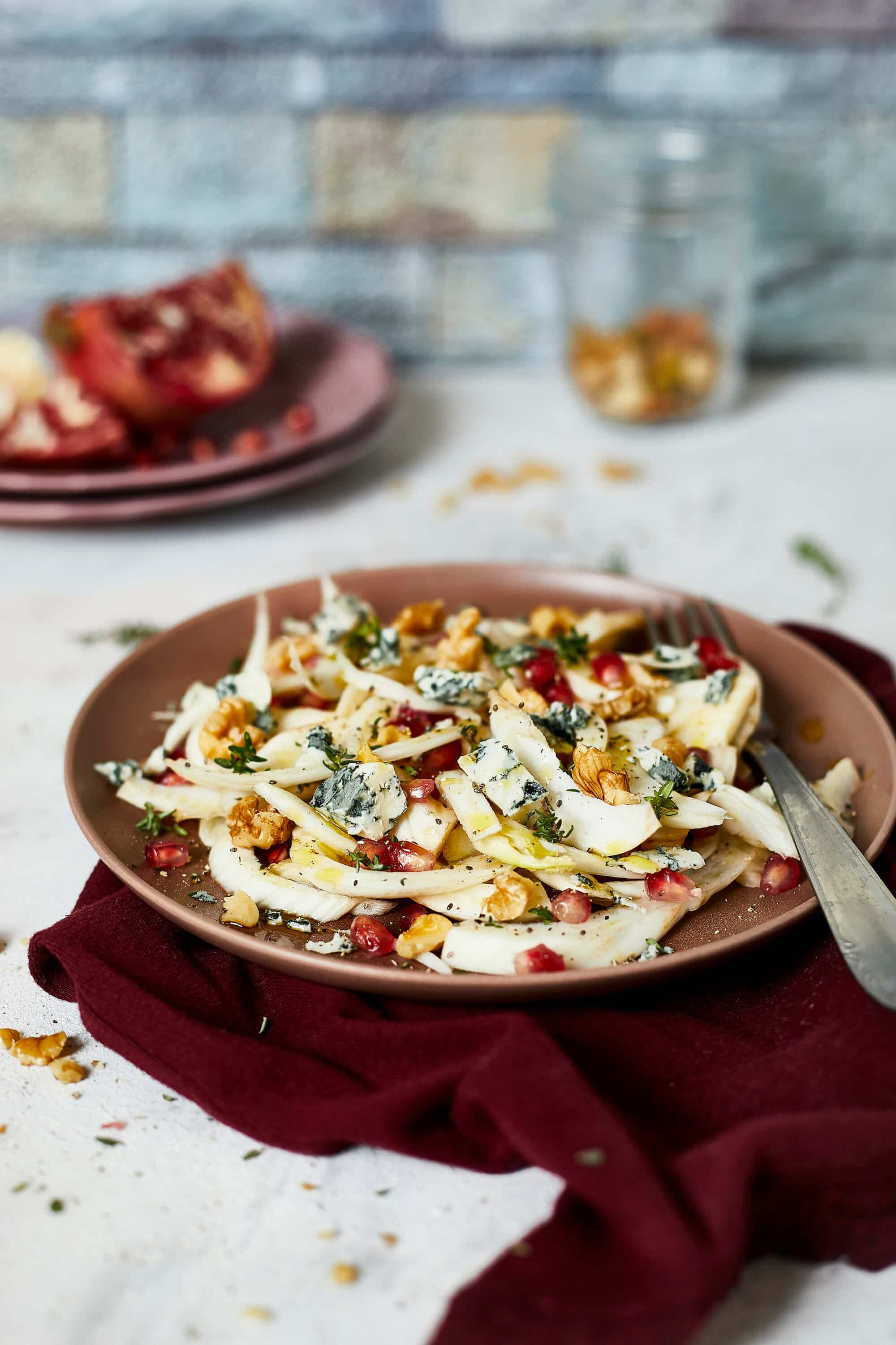 Fennel salad, Spicy Gorgonzola, Pomegranate and Walnuts