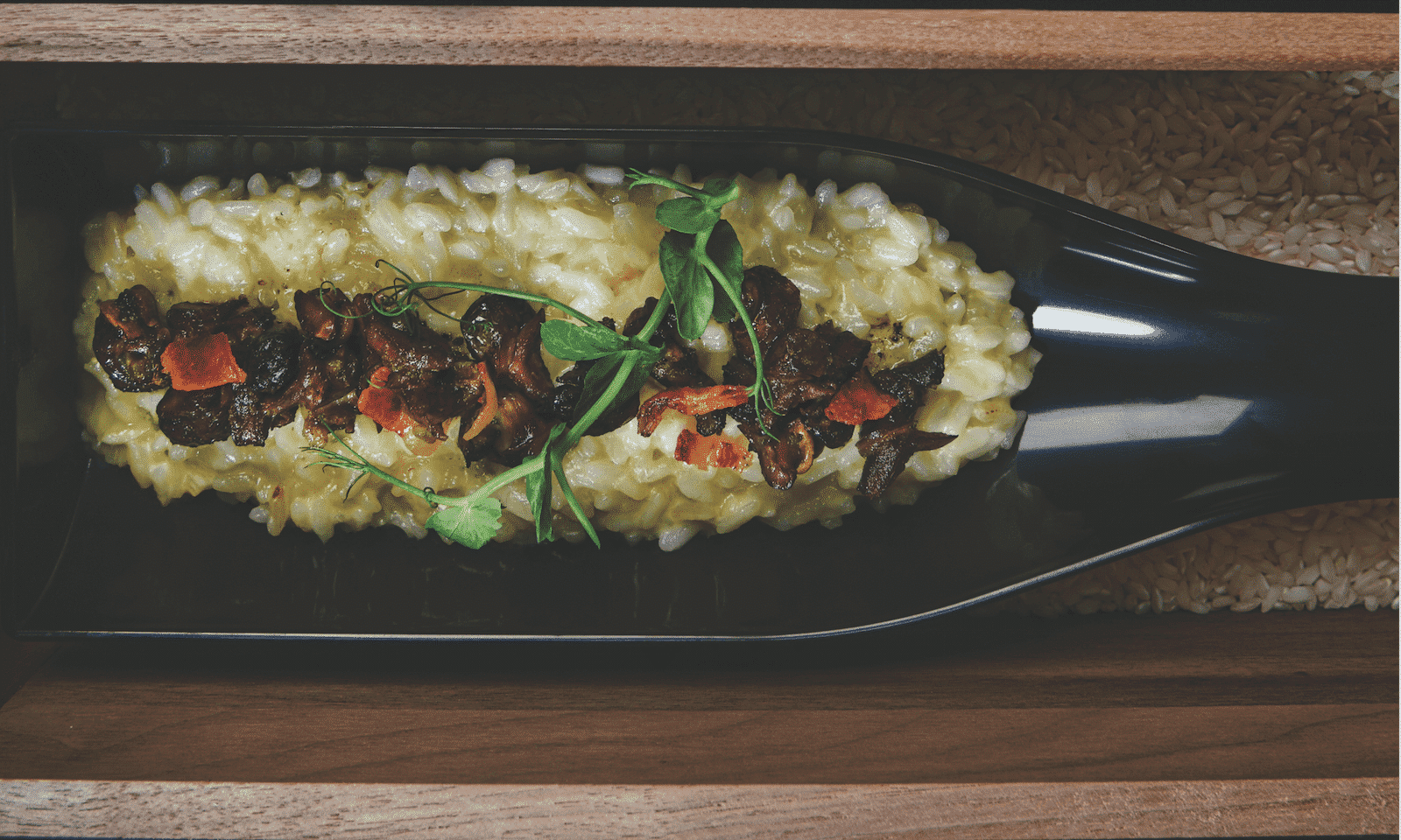 Burnt Garlic Risotto with Local Snails and Salsa Verde – Vini e Capricci by Abraham's